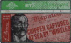 front of BT Phonecard showing Dr. Crippen